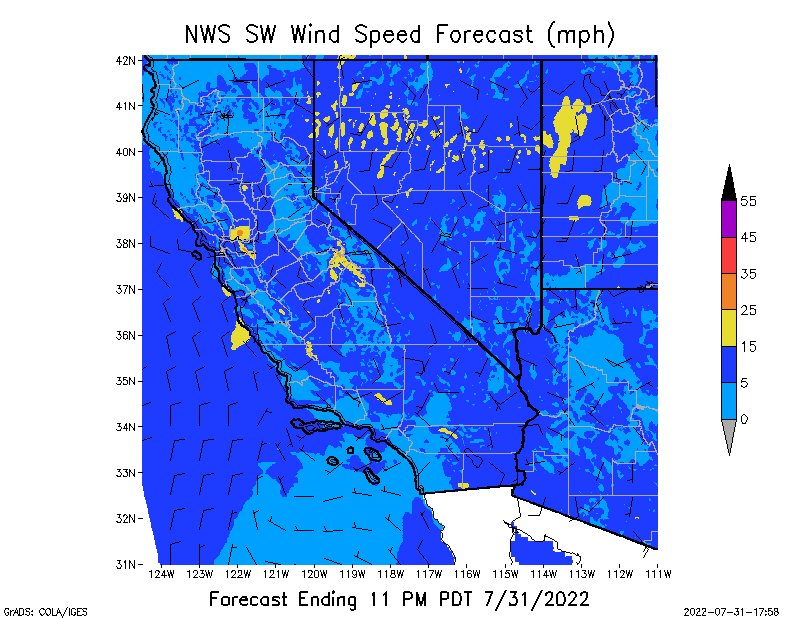 SW Wind Speed